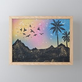 Birds in the sky silhouette Framed Mini Art Print