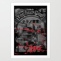 techno Art Prints featuring Techno Cop by Slippytee Clothing