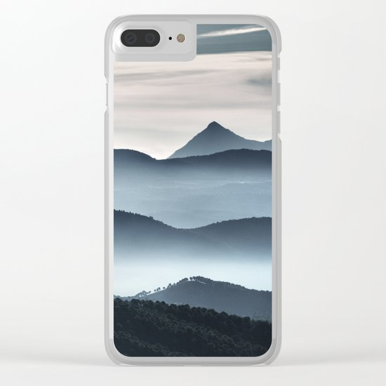 """""""Misty mountains"""". Blue hour Clear iPhone Case"""