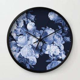 Denim and Roses Wall Clock