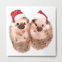 Christmas Twin Hedgehog Metal Print