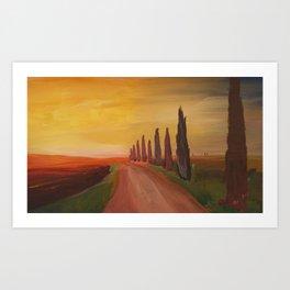 Tuscany Alley Way with Cypress at Dusk Art Print