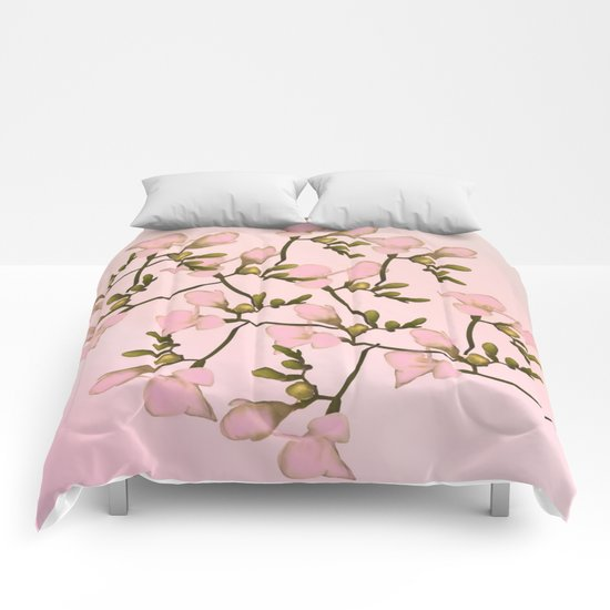 Painterly Pretty Pink Floral Comforters