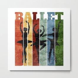 Ballet Dancer Ballerina Retro Design Metal Print