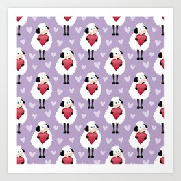 Blushing Sheep & Hearts Pattern Art Print