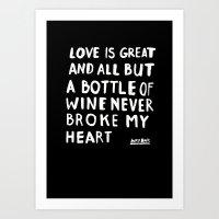 wine Art Prints featuring WINE by WRDBNR