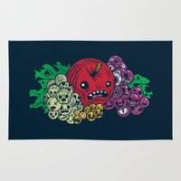tomb raider Area & Throw Rugs featuring Fruit of the Tomb by Gimetzco's Damaged Goods