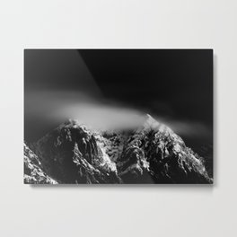 Black and white long exposure of clouds above mountain Metal Print