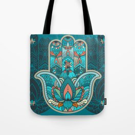 Hamsa Hand of Fatima, good luck charm, protection symbol anti evil eye Tote Bag