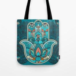 Hamsa Hand of Fatima, good luck charm, protection symbol anti evil eye Tote Bag