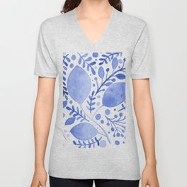 Branches and leaves - blue Unisex V-Neck