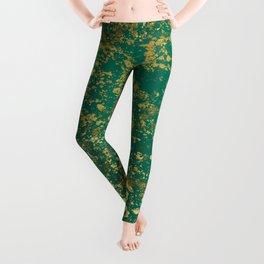 Ultramarine Green and Gold Patina Design Leggings