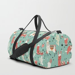 Llamas and cactus in a pot on green Duffle Bag