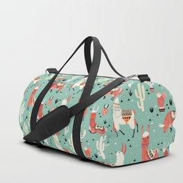 Llamas and cactus in a pot on green Duffle Bag