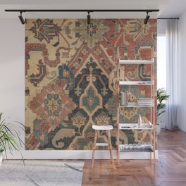 Geometric Leaves I // 18th Century Distressed Red Blue Green Colorful Ornate Accent Rug Pattern Wall Mural