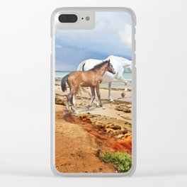 mare with her foal going to swimm Clear iPhone Case