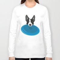 border collie Long Sleeve T-shirts featuring Border Collie - Disc Dog 2 by Niklab
