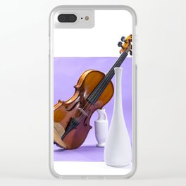 Still life with violin and white vases on a purple Clear iPhone Case
