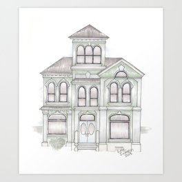 Green Italianate Victorian Art Print
