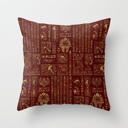 Egyptian hieroglyphs and symbols gold on red leather Throw Pillow