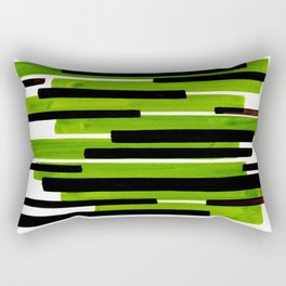 Lime Green Primitive Stripes Mid Century Modern Minimalist Watercolor Gouache Painting Colorful Stri Rectangular Pillow