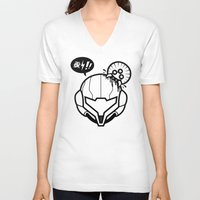 samus V-neck T-shirts featuring Samus by La Manette