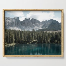 Lake Carezza - Italy -  Fine Art Landscape Photograph Serving Tray