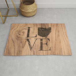 Ohio Map Home Love Wood Vintage Country Farmhouse Rug