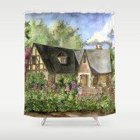 kentucky Shower Curtains featuring Tudor House on Kentucky Avenue by Shelley Ylst Art