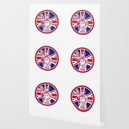 British Professional Cleaner Union Jack Flag Icon Wallpaper