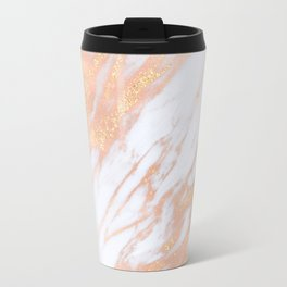 Marble - Rose Gold with Yellow Gold Glitter Shimmery Marble Travel Mug