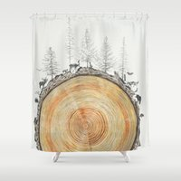 tree rings Shower Curtains featuring Tree Rings by dreamshade