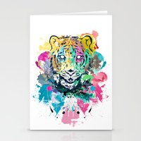 psychadelic Stationery Cards featuring Tiger Splash by Geo Law