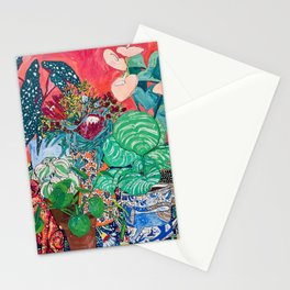 Jungle of Houseplants and Flowers on Bright Coral Pink with Wild Cats Stationery Cards