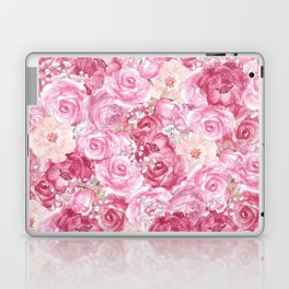 Hand painted white blush pink  coral floral Laptop & iPad Skin