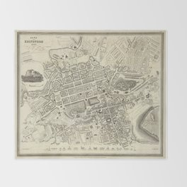 Vintage Map of Edinburgh Scotland (1844) Throw Blanket