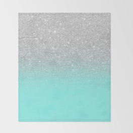 Modern girly faux silver glitter ombre teal ocean color bock Throw Blanket