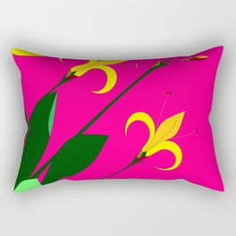 Yellow Lilies with the Sun in the Pink Sky Rectangular Pillow