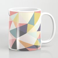 deco Mugs featuring Deco Tris by Beth Thompson