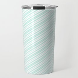 Vintage elegant pastel green white stripes Travel Mug