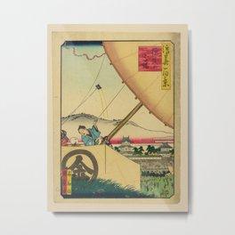Isshusai Kunikazu - 100 Views of Naniwa: Riding Ground of Osaka Castle (1860s) Metal Print