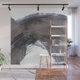 Navy Blue and Grey Gestural Brush Strokes Painting Wall Mural