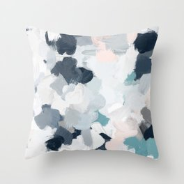 Navy Indigo Blue Blush Pink Gray Mint Abstract Air Clouds Art Sky Painting Throw Pillow