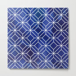Geometric Crystals: Sapphire Night Metal Print