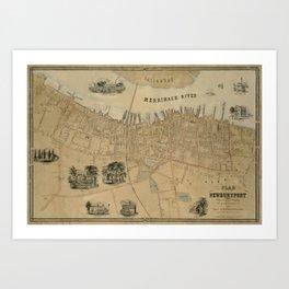 Map of Newburyport 1851 Art Print