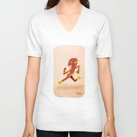 the flash V-neck T-shirts featuring Flash by Popol