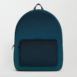 Navy blue teal hand painted watercolor paint ombre Backpack