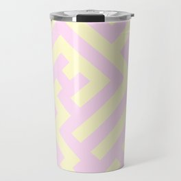 Cream Yellow and Pink Lace Diagonal Labyrinth Travel Mug