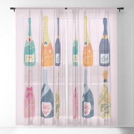 Champagne Bottles - Pink Ver. Sheer Curtain
