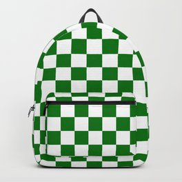 Large Green and White Christmas Check Backpack